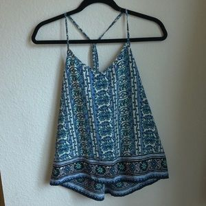 Blue and white patterned hollister blouse tank top